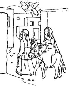 Joseph And Mary The Donkey Enter Bethlehem Coloring Pages