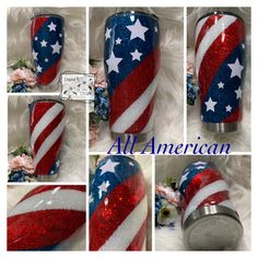 Your choice of or double walled stainless steel tumbler with sliding lid and straw. America flag theme may be personalized free of charge. All cups are sealed with epoxy so that the design is permanent. Diy Tumblers, Custom Tumblers, Glitter Tumblers, Personalized Tumblers, 4th Of July Nails, Resin Crafts, Glitter Crafts, Glitter Art, Glitter Makeup