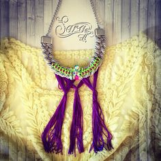 #neon #tassels #purple #fringe #necklace #summer #boho #hippie #beachjewelry #bignecklace #PicsArt #fashion #multicolored #colorful #style #trendy #beach #new #neonyellow #polyvore #sarakeyhandmade #newnecklace