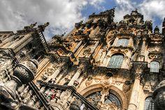 Imagen de la fachada de la catedral de Santiago de Compostela, Galicia, España