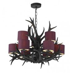 David Hunt Lighting Antler 9 Light Tiered Chandelier with a Black Finish and Blackcurrant Silk Shades