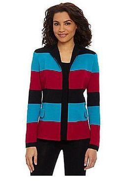 Misook-Multi-Color-Striped-Colorblock-Ottoman-Knit-Jacket-S