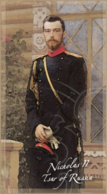 """Emperor Nicholas II """"Nicky"""" (Nikolay Alexandrovich Romanov) (1868-1918) Russia, husband of Alix (1872-1918) Hesse, Germany. Under his rule Russia was defeated in the Russo-Japanese War that destroyed the Russian fleet. The 1907 Anglo-Russian Convention set Middle East boundaries with Britain. He approved the Russian mobilization of 1914, Russia's involvement in World War I, when 3.3 million Russians were killed. These action are said to be main causes of the fall of the Romanov dynasty."""