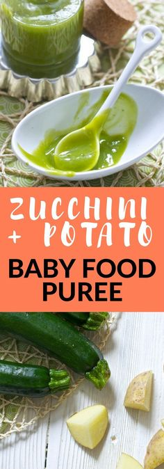 This delicious homemade Zucchini + Potato Baby Food Puree is a soft and creamy puree that makes for a great first puree to introduce to baby!