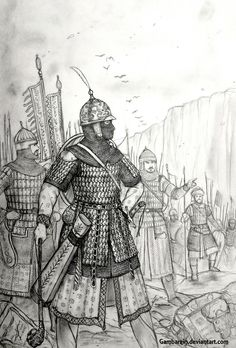 A Concept Drawing of a Persian (Post-Arab Conquest & Islamic Persia) Woman Warrior in the Historically Wrong Sketch Series: Medieval Revisited, whic. Shahdokht Darya of Ferdowsiyan Eranshahr (Persia) Larp Armor, Medieval Armor, Medieval Fantasy, Persian Warrior, Military Drawings, Armadura Medieval, Fantasy Armor, Historical Art, Middle Ages