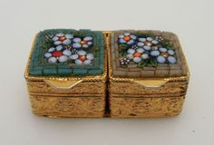 Antique Flower Micro Mosaic Double Pill Box Italy