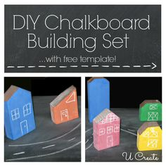 DIY Chalkboard Building Set - with free template! DIY Chalkboard Building Set - with free template! Craft Activities For Kids, Projects For Kids, Games For Kids, Diy For Kids, Crafts For Kids, Craft Ideas, Game Ideas, Diy Ideas, Diy Projects