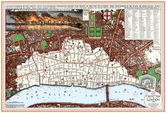 Map of the Great Fire of London. In 1666 the City of London was devastated by a fire that raged for five days, leaving some of the grandest buildings in ruins.