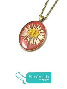 Real flower pendant, resin necklace, daisy flower, red necklace, long chain necklace from Avenna http://www.amazon.com/dp/B019C6LCUE/ref=hnd_sw_r_pi_dp_huDRwb1PS59PJ #handmadeatamazon