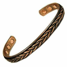 Men's Magnetic Copper Golf Bangle Cuff Bracelet Weave Accents Kingdom. $24.99. Size: 7'' L (when laid flat) x 1/3'' W. Enclosure: Open End. Surface Gauss: Approx 2000 gauss (Each Magnets). Finish:Weave Style exterior and pure copper interior. Material: Magnets and Copper. Save 58% Off!