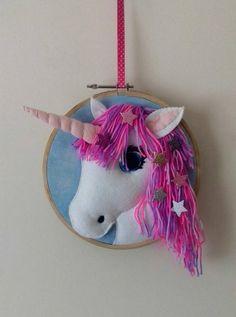 Unicorn decoration, unicorn felt decoration hanging hoop