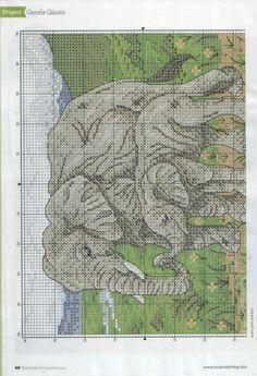 Elephants part 1 free cross stitch pattern