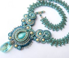 Crystal Blue Soutache and pearl necklace in silver by CieloDesign, $195.00