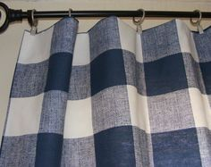 Curtain Panels 25'' x 84'' Pair Lined Navy Buffalo Check Patterns other color options