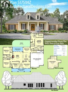 Architectural Designs Acadian Style House Plan 51751HZ has a brick and stucco exterior with a porch centered on the front giving it a symmetrical appearance. The bonus room over the garage gives you great expansion space. Ready when you are. Where do YOU want to build?