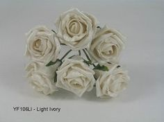 YF106LI  6 x 6 CM OPEN PEARLISED ROSE IN LIGHT IVORY COLOURFAST FOAM Vintage Colors, Vintage Flowers, Open Rose, Foam Roses, Organza Ribbon, Bunch Of Flowers, Rose Cottage, Wedding Bouquets, Home And Garden