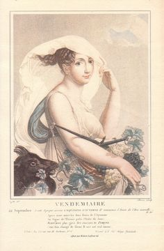 The French Revolutionary Calendar- Their month, Vendémiaire, started on September Salvatore Tresca (Engraver) - Louis Lafitte (Illustrator of the model) Autumnal Equinox, Calendar Time, Famous Novels, Academic Art, French History, Historical Art, French Revolution, France, Months In A Year