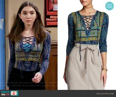 Riley's blue printed lace-up top on Girl Meets World.  Outfit Details: https://wornontv.net/61722/ #GirlMeetsWorld