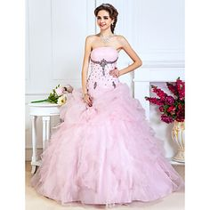 baljurk strapless vloer-lengte organza avond / prom dress - EUR € 144.40