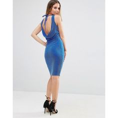 Jessica Wright Lurex Glitter Dress With Tie Back (240 SEK) ❤ liked on Polyvore featuring dresses, blue, bodycon dress, blue bodycon dress, glitter dress, round neck dress and sleeveless bodycon dress