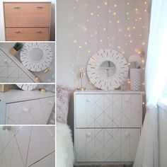 Look at this gorgeous geo makeover using gold and white leather sticky back plastic by d-c-fix! It looks so high end with this metallic and textured vinyl, such a fantastic transformation! Dc Fix, Headboard Cover, Tumblr Room Decor, Sticky Back Plastic, Vinyl Doors, Plastic Design, Geometric Decor, Furniture Restoration, Diy Home Improvement