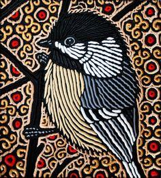Black-capped Chickadee painted woodcut block on salvaged Douglas Fir 11 x Lisa Brawn 2012 Art And Illustration, Linocut Prints, Art Prints, Block Prints, Art Brut, Art Graphique, Wood Engraving, Bird Art, Rock Art