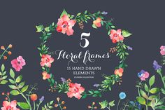Set of watercolour Floral Frames. - Illustrations - 1