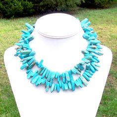 Reeba  Chunky Double Strand Aqua Blue Turquoise by jewelbytessyla, $150.00