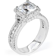 This ring is amazing! Wide Diamond Halo Engagement Ring | Goldstock Jewelers
