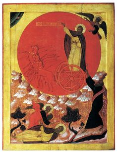 Angels and Elijah's Chariot to Heaven: An icon of Elijah ascending to heaven with angels in a fiery chariot
