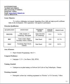 Resume Templates For Wordpad Mechanical Engineer Resume For Fresher ~ Resume Formats  Resume