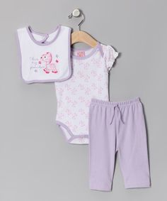 Loving this Purple Pony Bodysuit Set on #zulily! #zulilyfinds