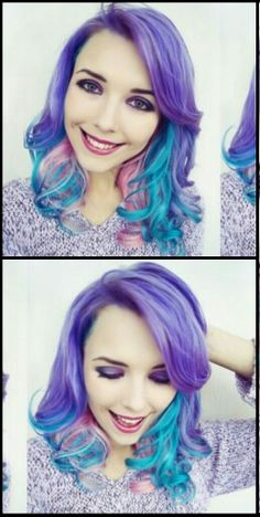 Purple blue pink dyed hair