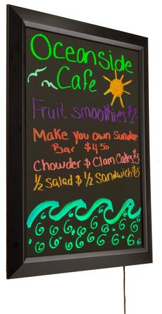 Write-On LED Board   Wall Mount Light Up Display w/ Animation - Markers Included