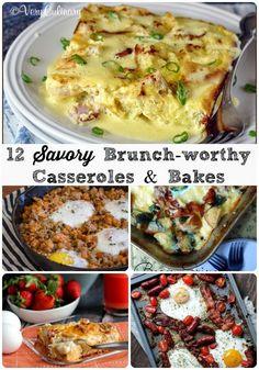 12 Savory Brunch-worthy Casseroles & Bakes via thefrugalfoodiemama.com #brunch #breakfast