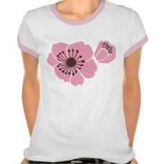 Cherry Blossoms Ladies Ringer T-Shirt; Abigail Davidson Art; ArtisanAbigail at Zazzle
