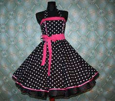 50's vintage dress full skirt black white pink polka dots Retro Dress Tailor Made. $99.00, via Etsy.