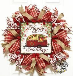 Rustic Christmas Happy Holidays Camper Deco Mesh Red Plaid Front Door Wreath