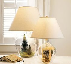 Beautiful 7 Fillable Glass Table Lamp ideas Now your turn! I'm sure you will have plenty of ideas to fill in your glass lamp! Recycled Glass Bottles, Glass Jars, Glass Table, Plastic Bottles, Fillable Lamp, Recycled Lamp, Recycled Wood, Glass Lamp Base, I Love Lamp