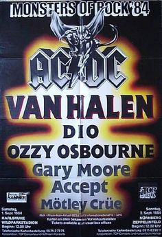 Monsters Of Rock 1984 - AC/DC, Van Halen, Dio, Ozzy Osbourne, Gary Moore, Accept, Motley Crue