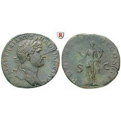 Römische Kaiserzeit, Hadrianus, Sesterz 119, vz/ss+: Hadrianus 117-138. Messing-Sesterz 33 mm 119 Rom. Kopf r. mit Lorbeerkranz IMP… #coins