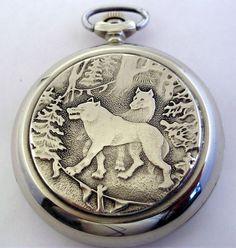 USSR Russian Pocket watch Molnija Molnia Wolves