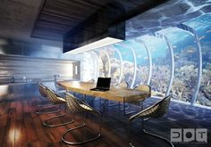Artist's rendering of an underwater room in the Water Discus hotel