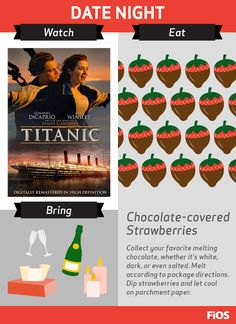 We've got you covered to help plan the perfect date night at home with Leo and Kate -- set the mood with candlelight, champagne, chocolate-covered strawberries, and #Titanic On Demand. #movienight
