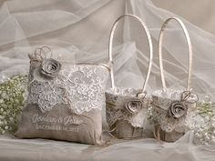 Flower Girl Basket & Ring Bearer Pillow Set, Shabby Chic Natural Linen Burlap , Embriodery Names on Etsy, $100.00