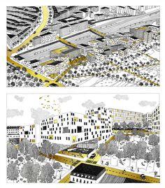 Création d'illustrations pour le projet du futur quartier des Batignolles avec les éditeurs Double Elephant / A.Chemetoff / CEGECE