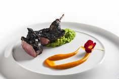Char-grilled squab, crushed brussel sprouts and nasturtium vinaigrette   FOUR Magazine