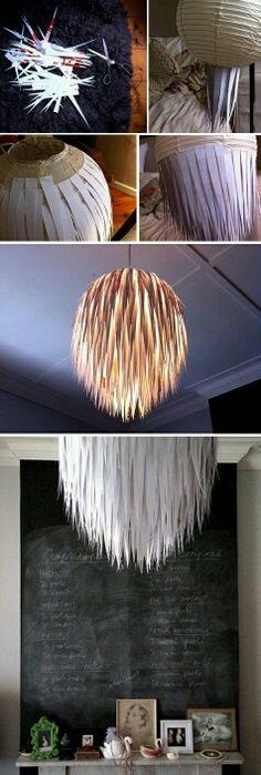 Lampenschirm aus Papierstreifen
