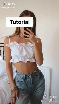 Clothes Crafts, Sewing Clothes, Custom Clothes, Girly Outfits, Cute Outfits, Fashion Outfits, Shirt Diy, Diy Fashion Hacks, Diy Tops