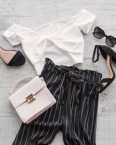 21fc2c559c Hyde Black And White Stripe Paperbag Pants  shoppriceless Summer Pants  Outfits